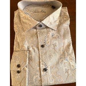 Tasso Elba Long Sleeve Paisley Dress Shirt 17.5